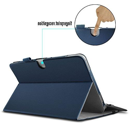 Infiland T102HA Case, Leather Stand Case for ASUS Inch Mini 2 Laptop- Navy