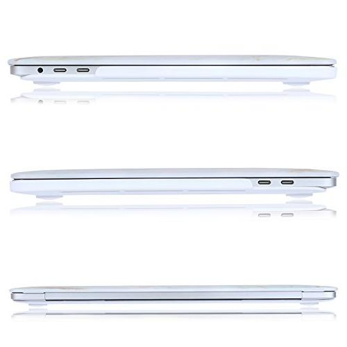 MOSISO 15 Case Release Bar, Plastic Pattern & Screen Protector Compatible Mac White Marble