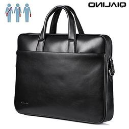 15-15.6 inch Laptop Bag, QIALINO Real Leather Briefcase Slim